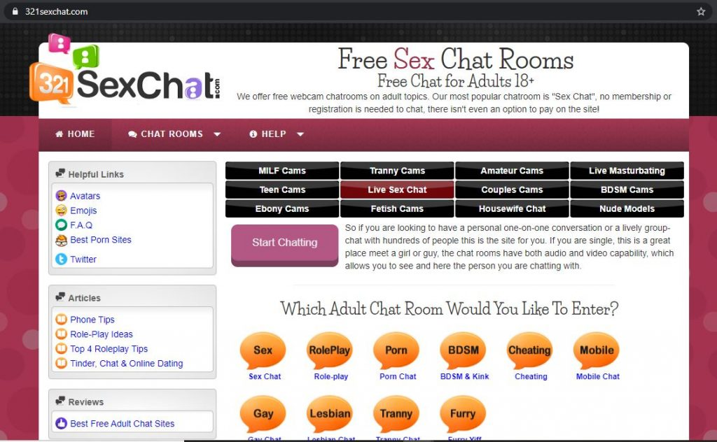 321SexChat Homepage Screenshot